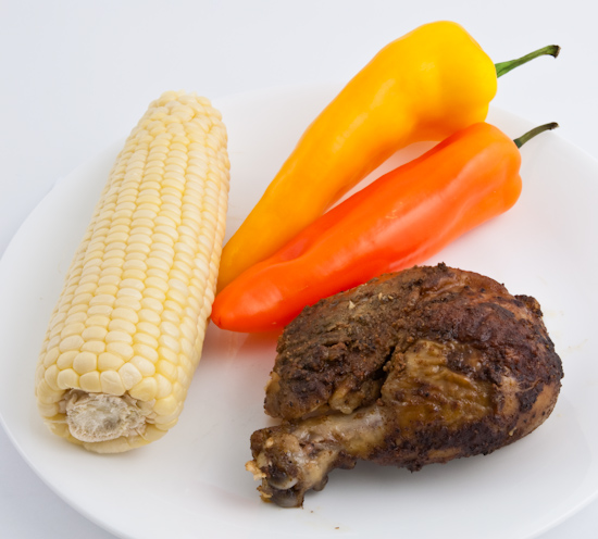 Sweet corn, sweet peppers, leg of chicken