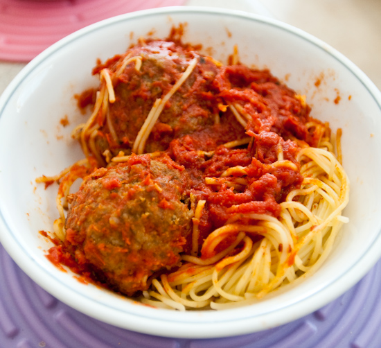 Leftover Angel Hair Pasta with Meatballs