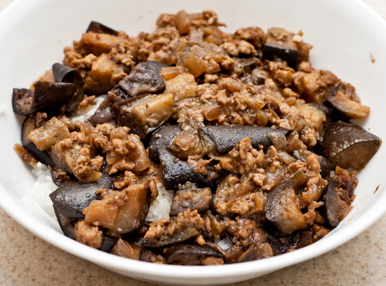 Eggplant and pork over white rice