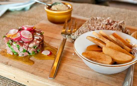 Dai Due Supper Club - Venison Liver & Apple Pate with Pickled Apples & Rye and Venison Tartare with Radishes and Arugula