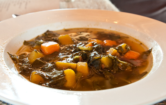 Dai Due Supper Club - Pumpkin and Kale Soup with Venison Chorizo