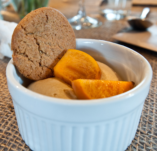Dai Due Supper Club - Mesquite and Yaupon Honey Ice Cream with Gingersnaps and Persimmons