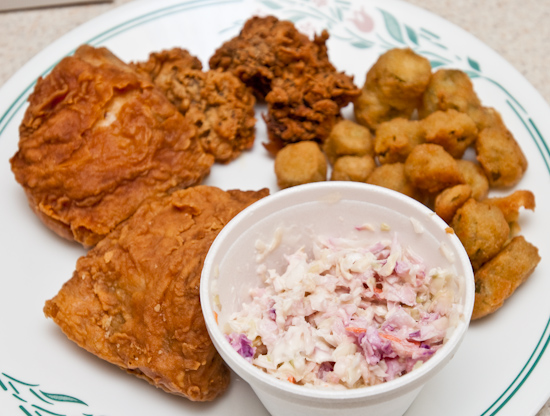 Fried Chicken, Fried Okra, and Cole Slaw