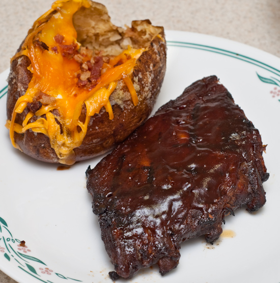 Leftover pork ribs and baked potato