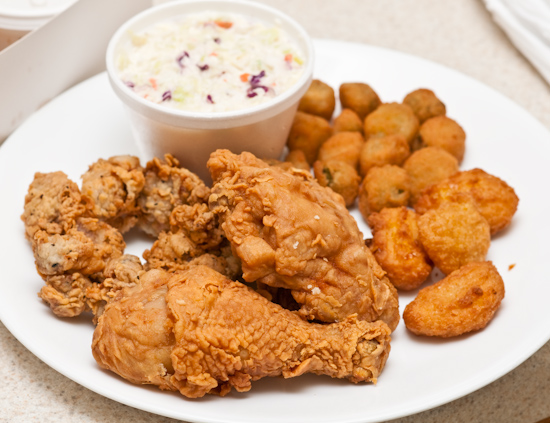 Gill's Fried Chicken - Chicken, Gizzards, Okra, Corn, and Cole Slaw