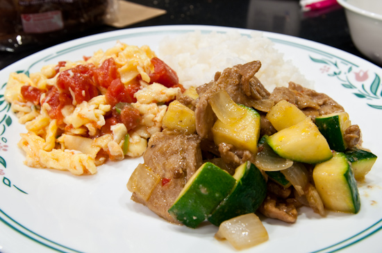 Zucchini and Pork, Eggs and Tomato, White Rice