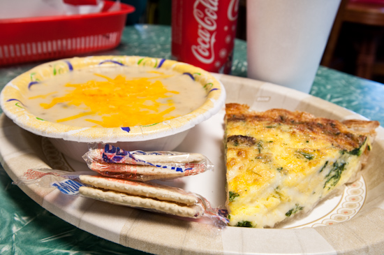 Texas Pie Company - Spinach Quiche and Poblano Potato Soup