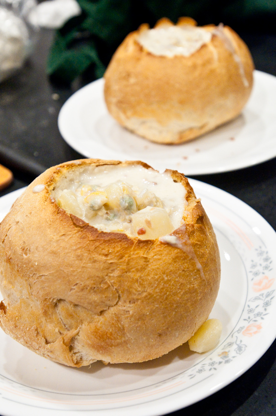 Clam Chowder in Bread Bowls