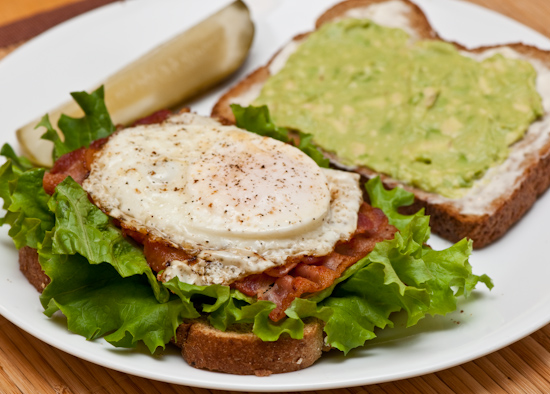 Bacon, avocado, and egg sandwich