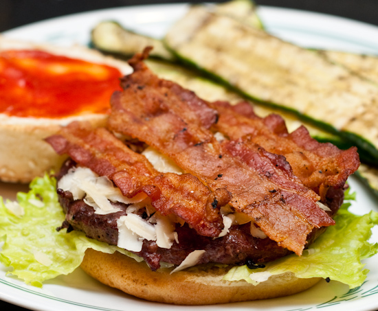 Ostrich Bacon Cheeseburger