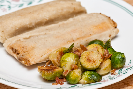 Brussels sprouts and tamales