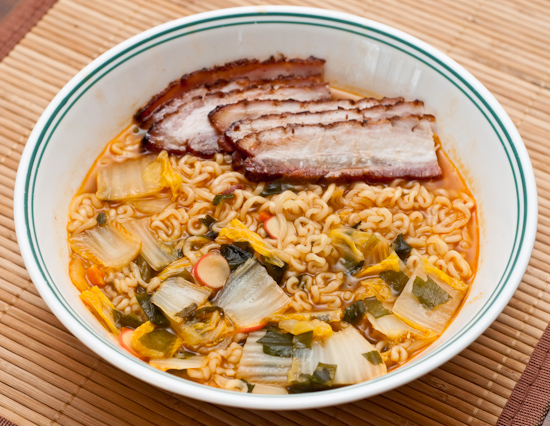 Nong Shim Seafood Ramyun with cabbage and pork belly