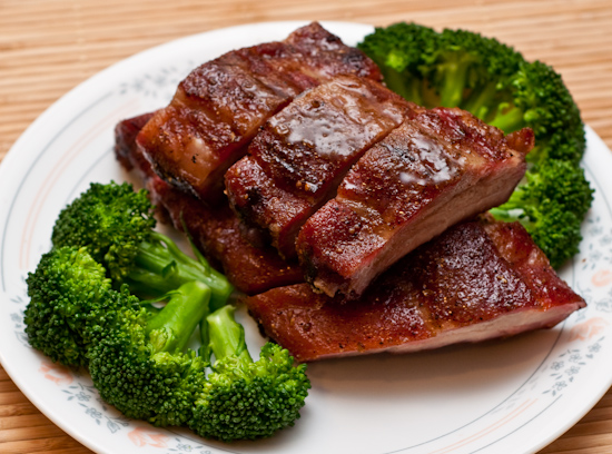 Mequite Smoked Baby Back Ribs with Broccoli