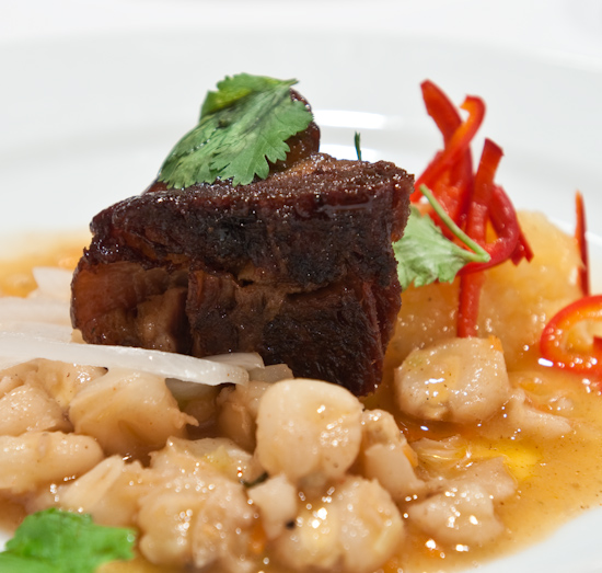 Zoot - Glazed pork belly with pineapple jam, pozole, pickled onions and cilantro