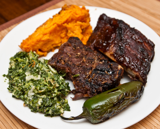 Leftover Ribs, Steak, Creamed Spinach, and Sweet Potato