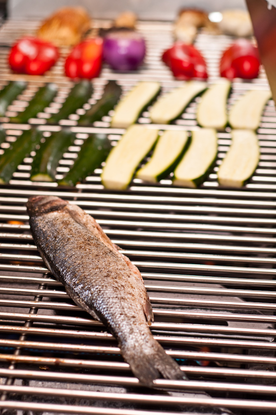 Grilling Branzino, zucchini, red bell peppers, and mushrooms