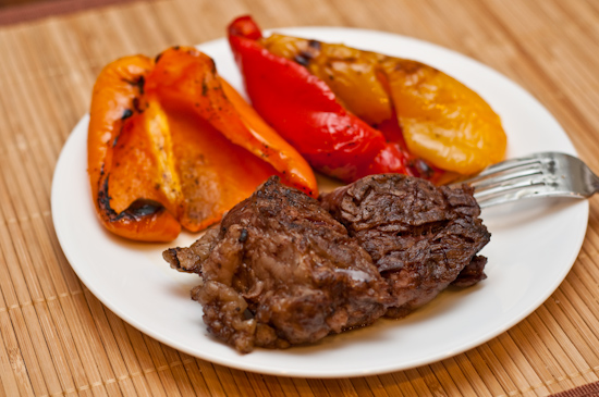 LEftover Ribeye Steak and Grilled Sweet Peppers