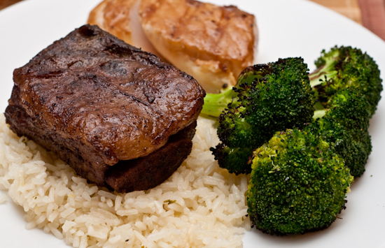 Sous Vide Short Ribs, Seasoned Rice, Grilled Broccoli, and Mystery Fish