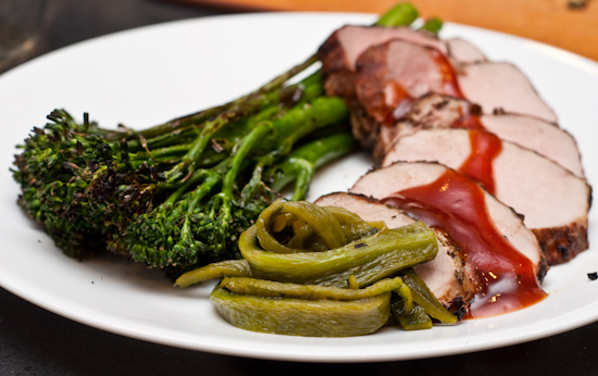 Sous Vide Pork Shoulder, Poblano Chile, Broccolini