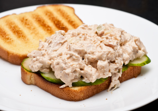 Rotisserie Chicken Salad with Sliced Cucumber Sandwich