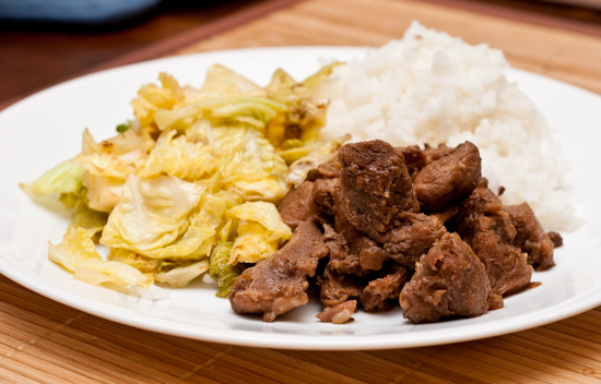 Soy-Sauce Boiled Pork, Savoy Cabbage, and Rice