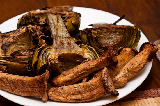 Grilled Artichokes and Grilled Trumpet Mushrooms