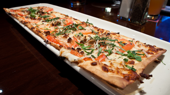 BJ's Brewhouse - Fresh Basil with Italian Sausage Flatbread Appetizer Pizza