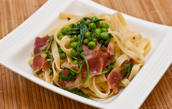 Fettuccine with Speck, Arugula, and Green Peas