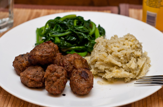 Aidell's Teriyaki Meatballs, Sauteed Spinach, and Mashed Sweet Potatoes
