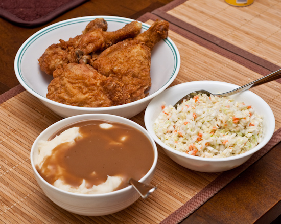 KFC - 6 Pieces Original Recipe Thighs and Legs, Mashed Potatoes, and Cole Slaw