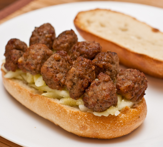Aidell's meatballs and sauteed zucchini sandwich
