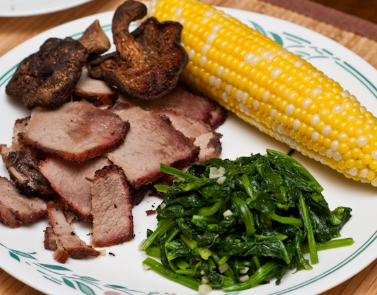 Smoked Pork Cushion Meat, Corn, Spinach, and Grilled Shiitake Mushrooms