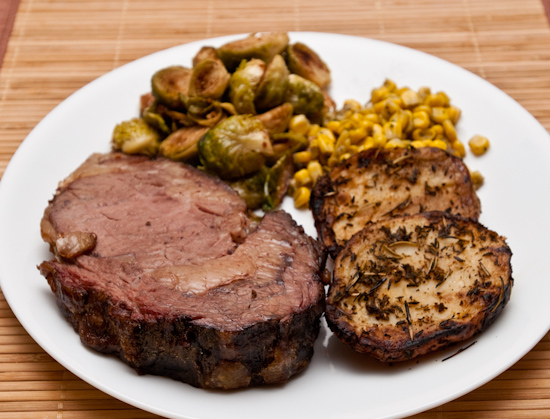 Prime Rib, Brussels sprouts, corn, and potatoes