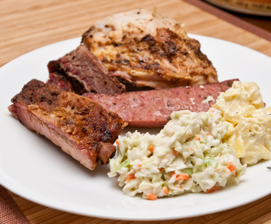 Rudy's BBQ - Chicken breast, pork rib, brisket, potato salad, cole slaw