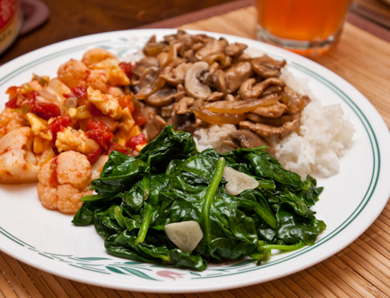 Sauteed spinach and leftover mushroom chicken and tomato cauliflower