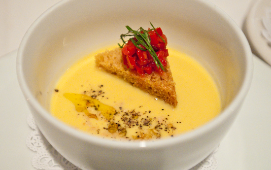 Zoot - Chilled smoked corn soup with basil and peanuts