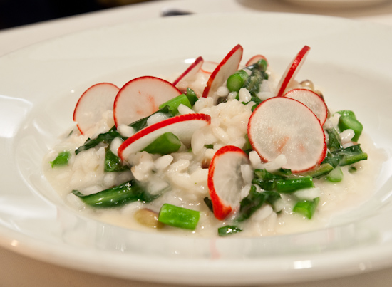 Zoot - Spring risotto with English peas, asparagus, dandelion greens and radish