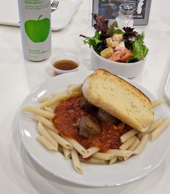 IKEA - marinara pasta with meatballs and a side salad