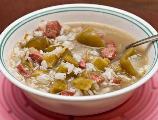 Okra and sausage soup with white rice