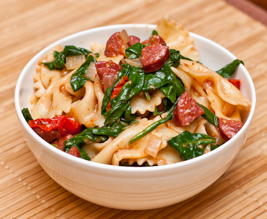 Bow-Tie Pasta with Sausage, Spinach, and Roasted Cherry Tomatoes