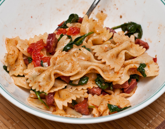 Leftover Bow-Tie Pasta with Sausage, Spinach, and Roasted Cherry Tomatoes