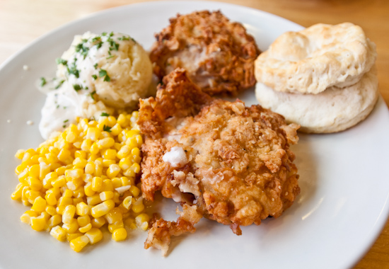Central Market Cafe - Country Fried Chicken with Mashed Potatoes, Corn, and Buttermilk Biscuit