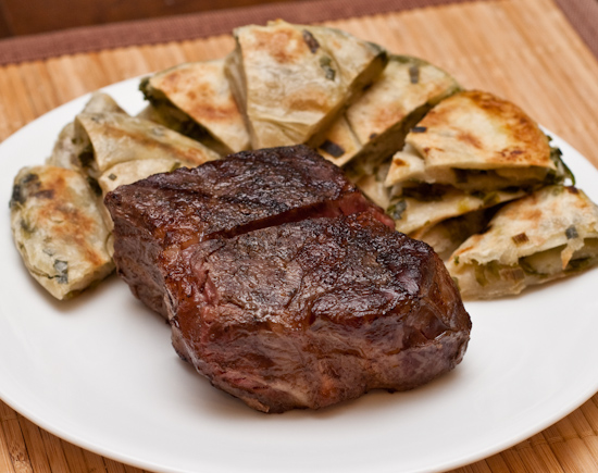 New York strip steak with cong you bing