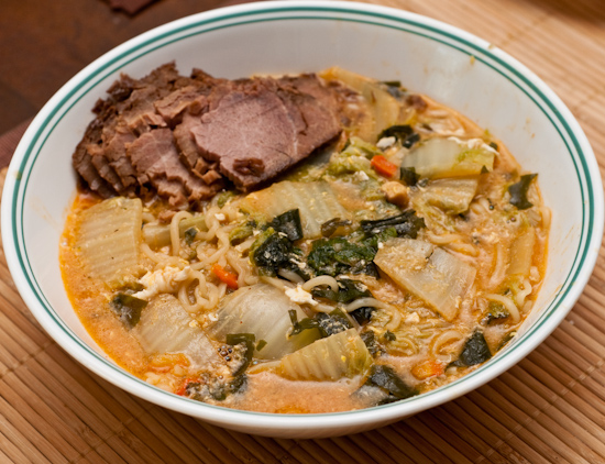 Nong Shim Seafood Ramyun Instant Noodles with Napa Cabbage and Sliced Cold Pork Shoulder