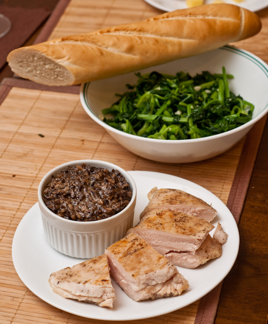 Sous vide chicken, duxelle, spinach, and French bread