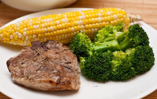 Leftover Pork Chop with Broccoli and Corn