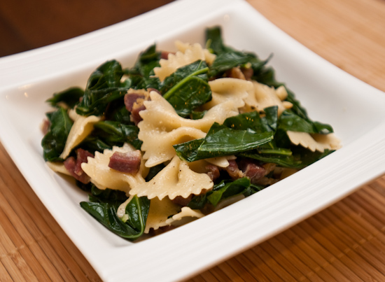 Farfalle with prosciutto and collard greens