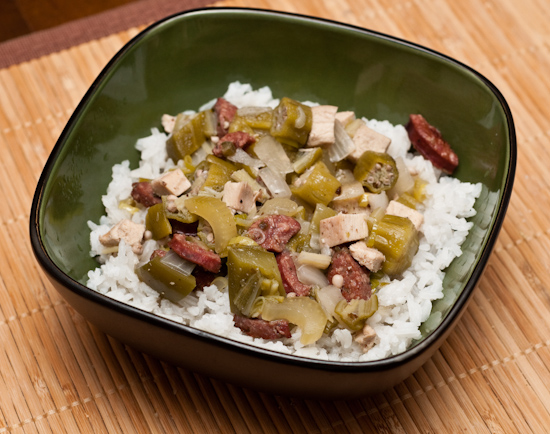 Leftover okra stew over white rice