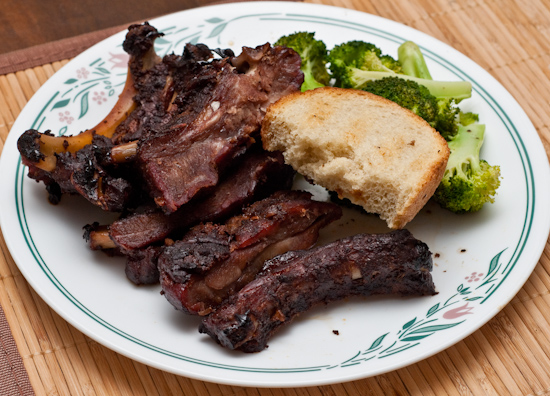 Leftover Smoked Ribs with Bread and Broccoli