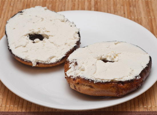 Toasted french toast bagel with cream cheese